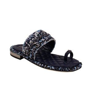 CHANEL Raffia Chain Sandals 6.5/37.5C